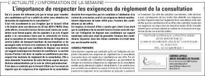 •La Dépêche du Midi du 2 juillet 2019, rubrique Annonces légales / Marchés publics