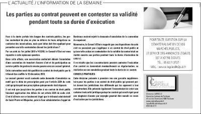 La Dépêche du Midi du 8 octobre 2019, rubrique Annonces légales / Marchés publics