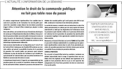 •La Dépêche du Midi du 5 novembre 2019, rubrique Annonces légales / Marchés publics